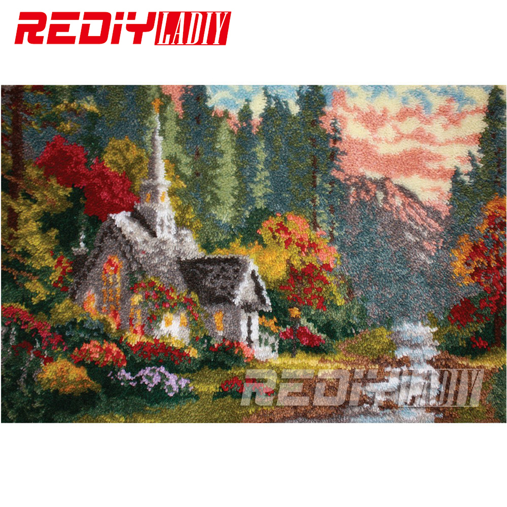 Latch Hook Rug Crocheting Tapestry Pre printed Canvas Autumn Cottage Cushion Kits for Embroidery Home Carpet