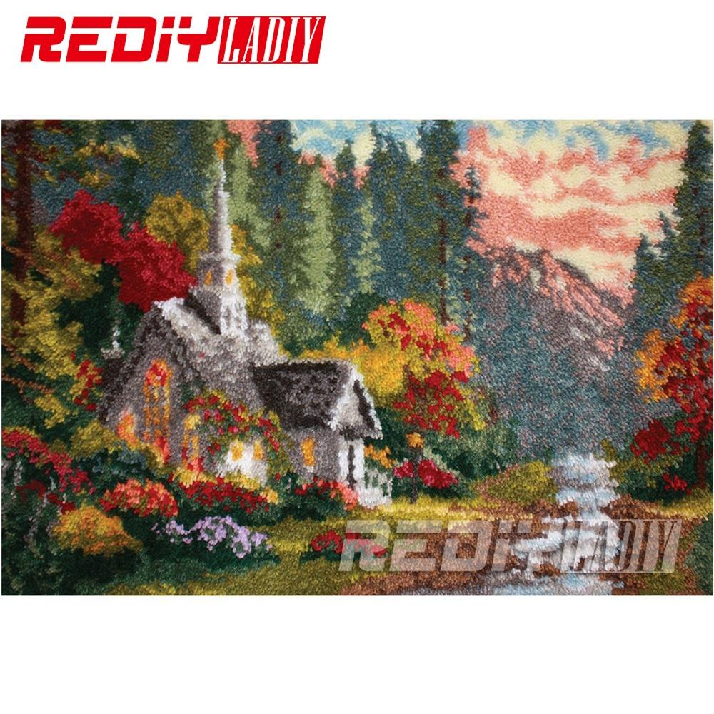 Klink Haak Kleed Haken Tapestry Voorgedrukte Canvas Herfst Cottage