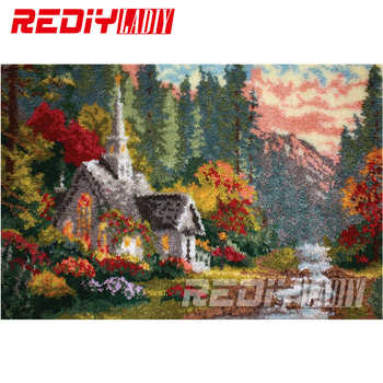 Latch Hook Rug Crocheting Tapestry Pre-printed Canvas Autumn Cottage Cushion Kits for Embroidery Home Carpet Diy Handicraft Gift - Category 🛒 Home & Garden