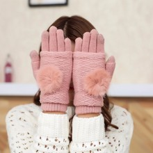 2019 Winter Touch Screen Gloves Women Stretch Knit Mittens Lmitation Wool Full Finger Guantes Female Crochet перчатки Thicken перчатки touch gloves