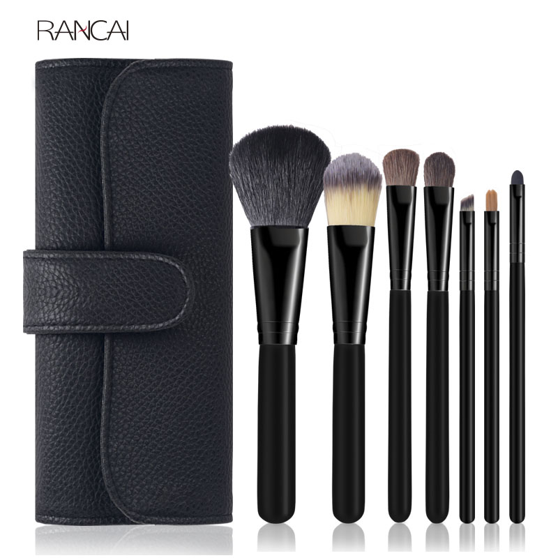 Professional 7pcs Black Makeup Brushes Powder Foundation Blusher Face Kabuki Brush pincel maquiagem Cosmetics Tools Goat Hair in Eye Shadow Applicator from Beauty Health
