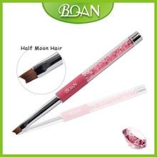 Free Shipping! 1 Piece BQAN Rhinestone Professional Nail Art New Design Half Moon Nylon Hair Nail  Smile Brush  6#