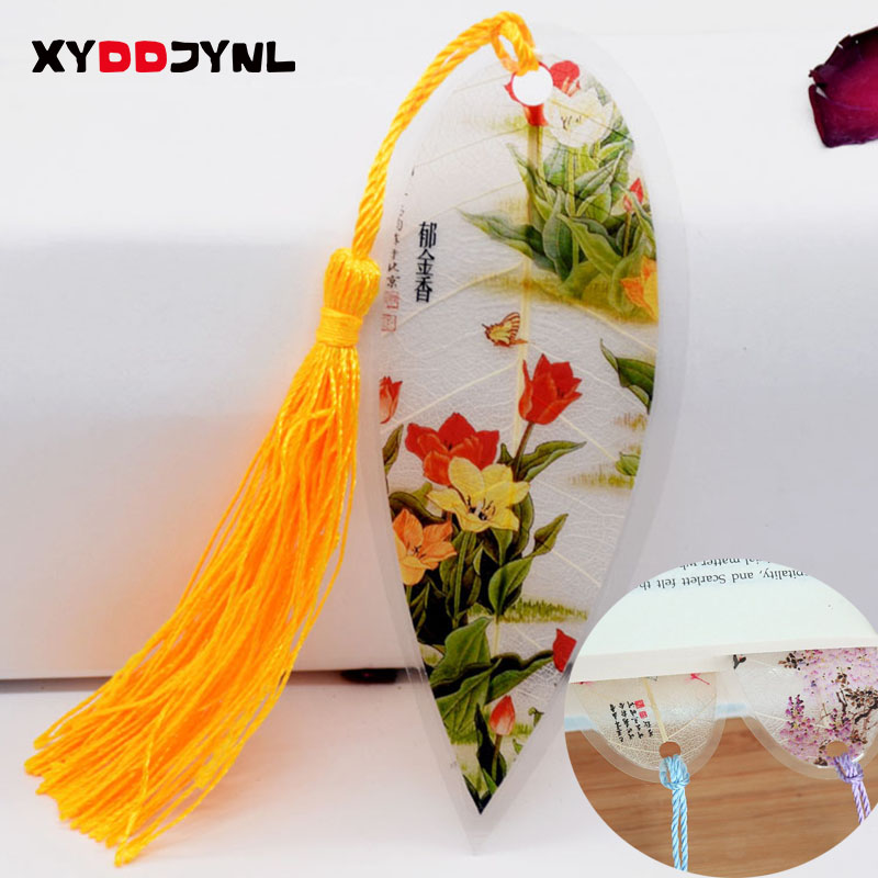1pc Leaves Vein Bookmark Creative Chinese Wind Tassel Bookmarks Collectibles Boekenlegger Stationery Creative School Supplies