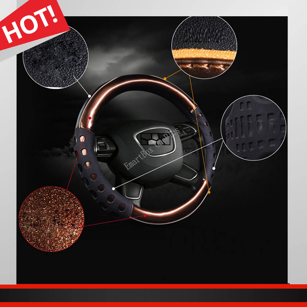 New Elegant Car Styling Car Steering Wheel Car-Covers 38cm Colorful PU Leather Car Steering Wheel Cover Auto Inner Accessories