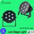 4 шт. 7x12 W led свет этапа голосовое управление AC110-240V LED Плоским SlimPar Quad Свет 4in1 LED DJ Заливающего Света Стадия Рабочего Положения Вверх No уровень шума