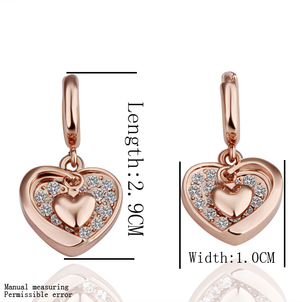 wholesale 18K Rose Gold plated fashion jewelry Austria Crystal,rhinestone,CZ diamond,Nickle Free Heart Drop earrings KE048