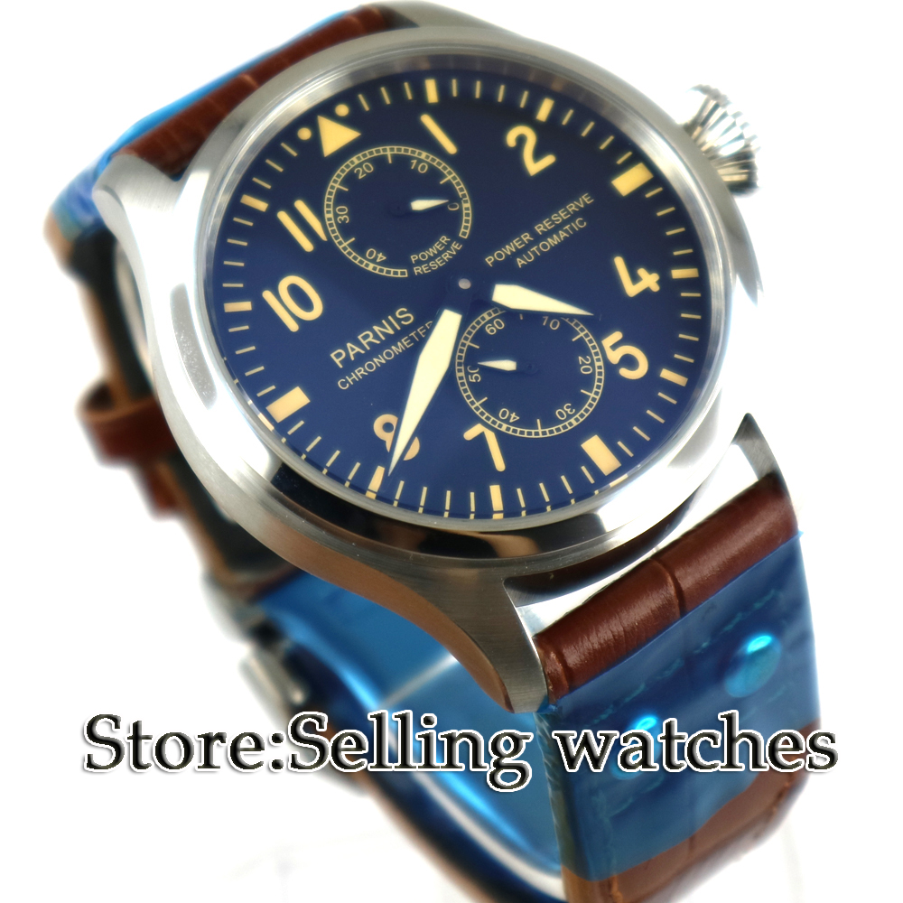 New arrive 47mm parnis BLack Dial Steel Case Blue mark Power Reserve Luminous Leather Automatic movement mens' Watch 47mm parnis power reserve coffee dial brushed case yellow numbers automatic men s leather watch