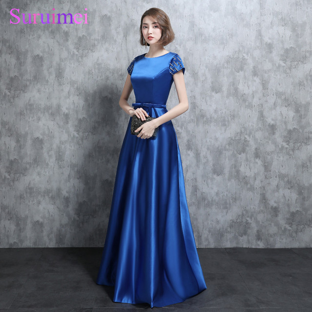 bb632cf04420 Vintage Royal Blue Brides Maid Dresses Short Sleees Cap Bow Sashes Side Pockets  Satin Long Brides Maid Dress Wedding Event Gown