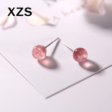 100% Genuine S925 Sterling Silver Chinese Style Strawberry Quartz Earrings Women Luxury Valentines Day Gift Jewelry ESCN-18002