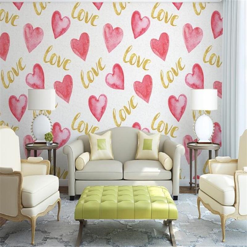 Modern Style Wallpaper Non Woven Murals Hand Drawn Love Heart Shape Wallpaper for Baby Room Cute Sticker Wallpaper