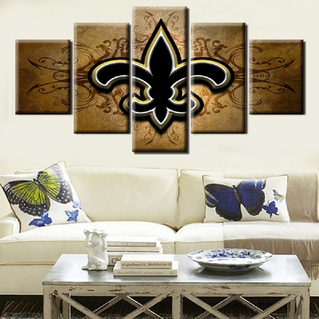 New Orleans Saints Football Team Logo Oil Painting On Canvas Modern Home Pictures Prints Living Room