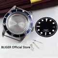 Caja de reloj Azul zafiro de 41mm + esfera negra + manos luminosas adaptadas ETA 2836 movimiento automático para hombre caja de reloj de O43c