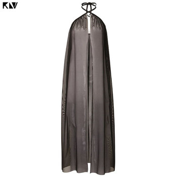 KLV Women Summer Bandage Mesh Sheer  Maxi Beach Skirt Solid Color Open Front Bikini Swimsuit Cover Up Split Wrapped Sarong 10