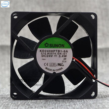 Original KD2408PTB1-6A Computer Blower Double Ball Cooling Fan DC 24V 3.4W 8025 80*80*25mm 4900RPM 2 Wires
