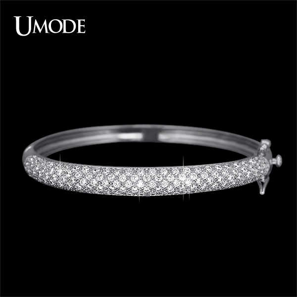 UMODE Luxurious Party Jewelry White Gold Color 129 pcs 0.03ct CZ simulated CZ Stone Pave Bangle Bracelets for Women UB0039B