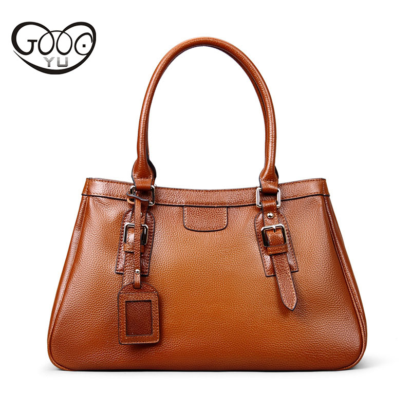 Europe and the United States elegant style lychee pattern handbag head layer of leather simple fashion simple color shoulder Mes europe and the united states style first layer of leather lychee handbag fashion retro large capacity solid business travel bus