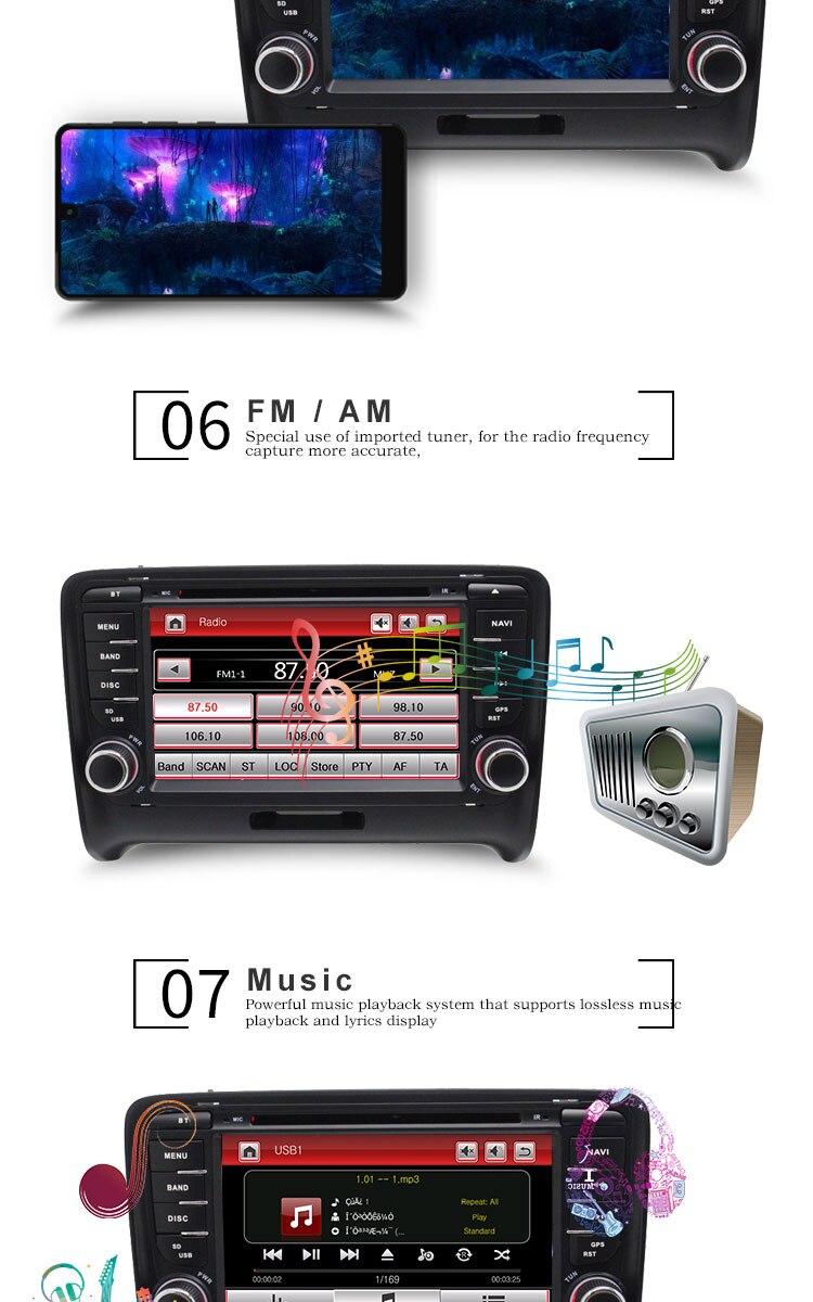 Best TOPBSNA 2 Din Car DVD Player For AUDI TT/TTS MK2 8J 2006-2012 GPS Navigaiton multimedia automotive dvd Auto Stereo Headunit USB 4