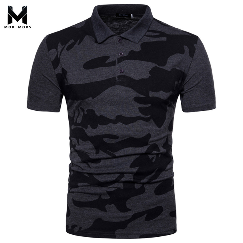 2018 Mens New Lapel Camouflage Print Slim Cotton   Polos   Shirt Fashion Casual High Quality Color Men   Polo   Shirt Short Sleeve