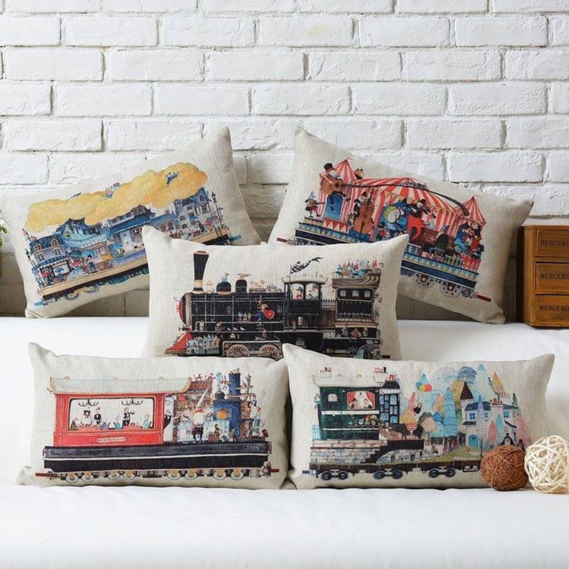 30*50cm Retro Steam Train Designs Industrial Revolution Cotton Linen Car Seat Cushion Cover massage pillow Waist pillow cojines