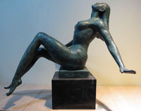 FREE Shipping Western Art Deco Copper Bronze Figurine Nude woman Marble base Statue Sculpture