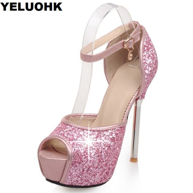 Brand New Glitter Shoes Sandals Women High Heels Strap Wedding Shoes Woman Pumps Platform Shiny Shoes Open Toes Stilettos phyanic bling glitter high heels 2017 silver wedding shoes woman summer platform women sandals sexy casual pumps phy4901