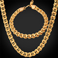 U7 Cuban Link Chain Yellow Gold/Rose Gold Plated Chain Necklace Bracelet Jewelry Set For Men Jewelry Wholesale S243