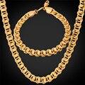 U7 cubano enlace cadena oro amarillo/oro rosa plateado collar de cadena de la pulsera de la joyería para los hombres al por mayor de joyería s243