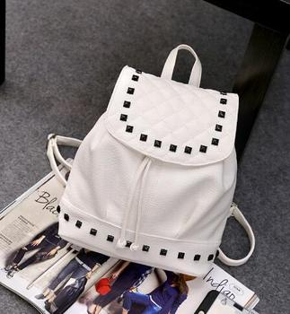 Free shipping Frans tui V Backpack female fashion embroidered line lattice PU Leather