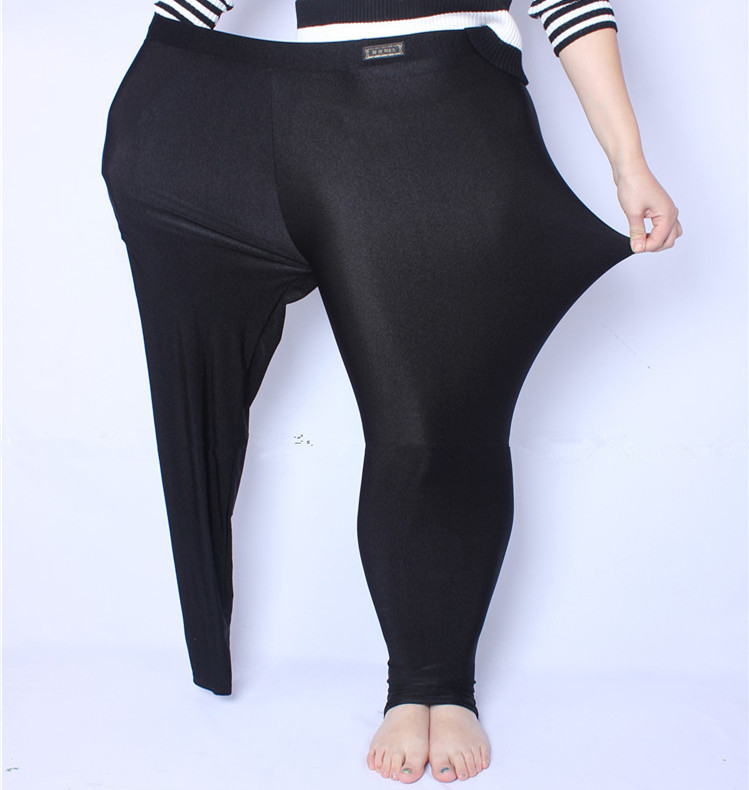 FSDKFAA 2018 Fit 150kg Fat MM Plus Size Women Autumn Black High Waist Nylon Leggings Pants High Elastic Stretch Material XL-5XL