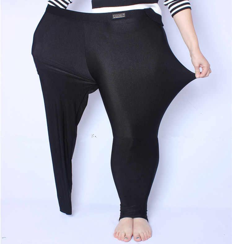 FSDKFAA 2018 Fit 150kg tłuszczu MM Plus rozmiar kobiety jesień czarny wysokiej talii Nylon leginsy wysoki elastyczny materiał Stretch XL-5XL