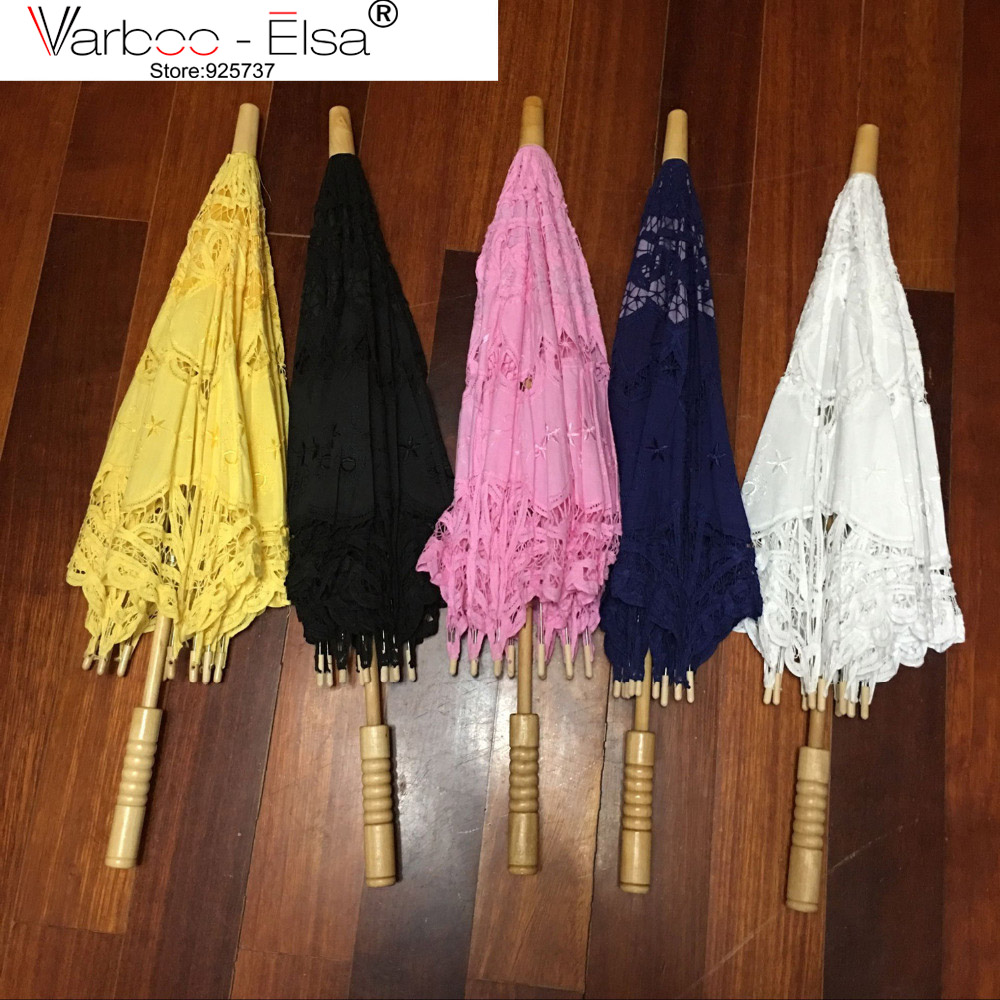 Classic Multi-color Noble Elegant Palace Style Long Arm Wedding Bridal Umbrella Lace Parasol Sun Umbrella 9 Colors lace Umbrella