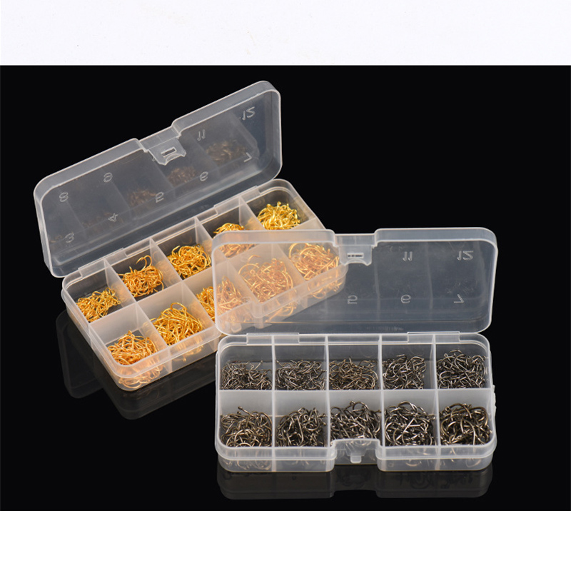 Plastic box packaging 600 Pcs/box 3# -12# 10 Sizes Carbon Steel Fishing Hook Fishhooks Durable Fine fishing hooks