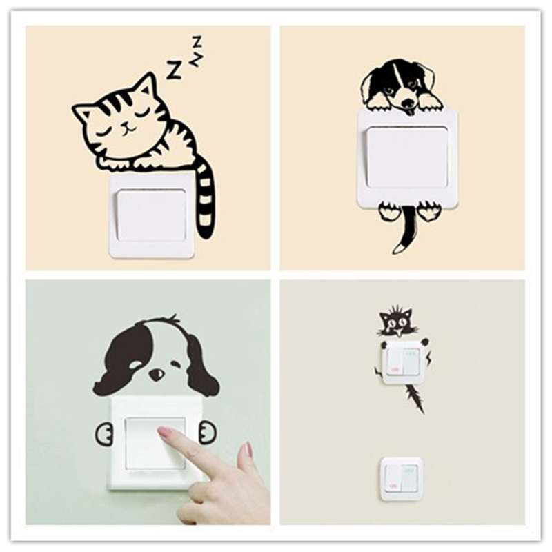 Funny Pattern Self-adhesive Bedroom Living Room Switch Panel Stickers Removable Wall Decals Home Decorative Mural