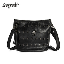 AEQUEEN Women Shoulder Bags Ladies Skull Studs Punk Rivet PU Leather Goth Zipper Tassels Vintage Style Coressbaby Messenger Bag