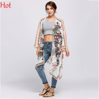 Women Summer Long Blouses Short Sleeve Beach Cover Up Chiffon Cardigan Irregular Loose Floral Printing Sun Shirts Tops SVK031415