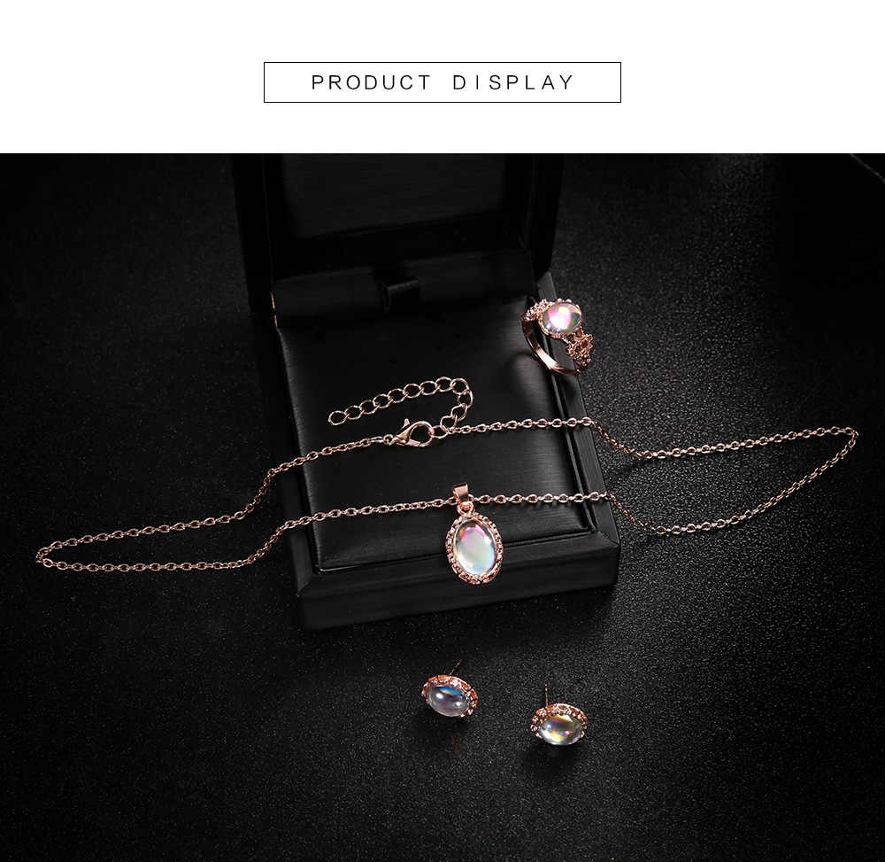 Conjuntos de joyas de ópalo para mujer COLLAR COLGANTE gargantilla pendientes de gota de agua y anillo color dorado bohemio regalos de joyería para boda