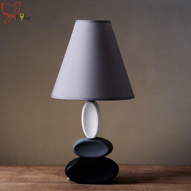 kunst decor keramik tischlampe e14 halter grau tuch lampenschirm, Deko ideen