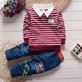 2016 new Boy 2 pçs/set crianças Roupas definir 100% Algodão primavera Cueca listrada T shirt calças de brim