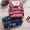2016 nueva Boy 2 unids/set Ropa de los niños fijó 100% Algodón de primavera Ropa Interior de rayas de la camiseta pantalones vaqueros