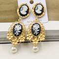 New Baroque Flowers Crystal Tassel Earrings Vintage Pearl Big Statement Stud Earrings Wedding Party Jewelry For Gift 326
