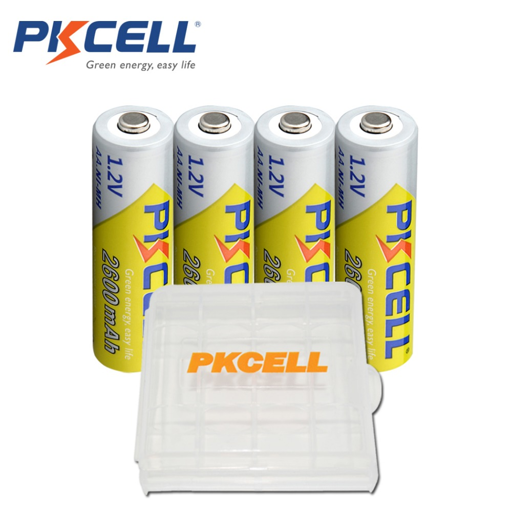 4 x PKCELL AA Batteries NI-MH 2600Mah 1.2V AA Rechargeable Battery  Batteries 2A Bateria Baterias with 1 Battery Hold Case Box ak 47 tactical quad rail picatinny handguard system cnc aluminum full length tactical for ak rifles 26cm hunting gun accessories