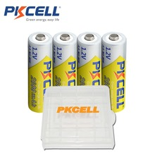 4 x PKCELL NI-MH 2600Mah 1.2V AA Rechargeable Battery 2A Bateria Baterias with 1 Battery Hold Case Box