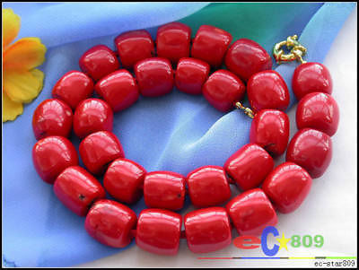 "Hot sale Free Shipping>>>>>HUGE 18"" 16MM column red coral bead NECKLACE"