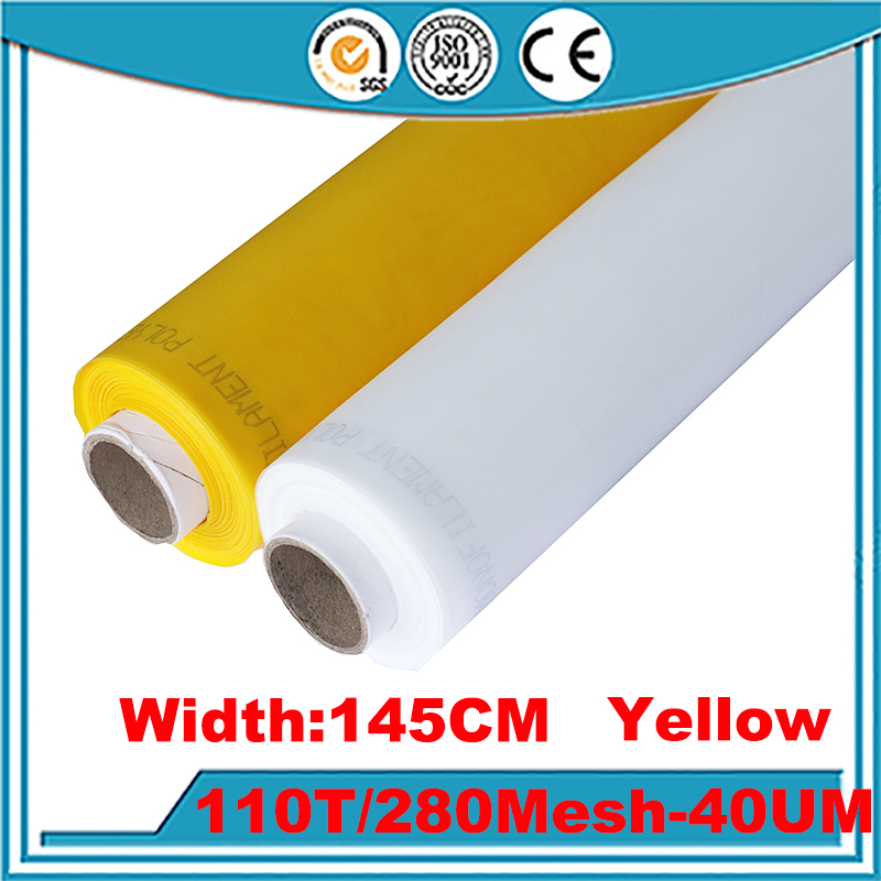 Fast Delievery!!! Yellow 25 Meters 110T(280mesh)-145cm Monofilament Polyester Silk Screen Printing Mesh