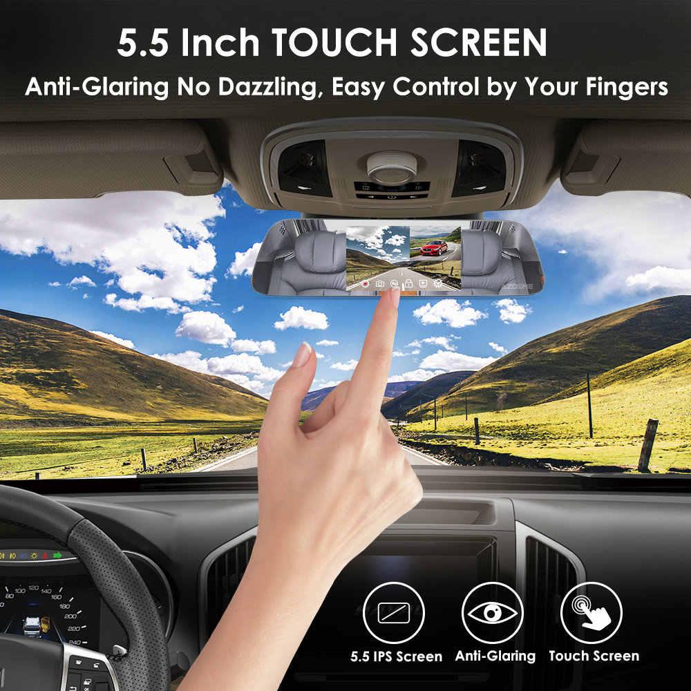 "Azdome Mobil DVR PG01 Cermin Video Recorde Dual Lensa HD 1080P + 720P Dash Cam 5.5 ""IPS layar Sentuh Belakang Kamera Malam Visi"