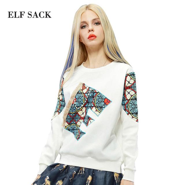 ELF SACK Marca de Moda 2016 Mulheres de Outono Camisetas com Apliques Patchwark T-shirt Básica Solta O-pescoço de Manga Comprida Casuais Branco