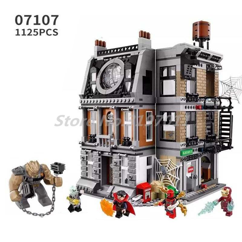 Stacking Blocks New Marvel Superero Sanctum Sanctorum Showdown Building Blocks 1125pcs 07107 Bricks Toys For Children Gift 76108 sanctum