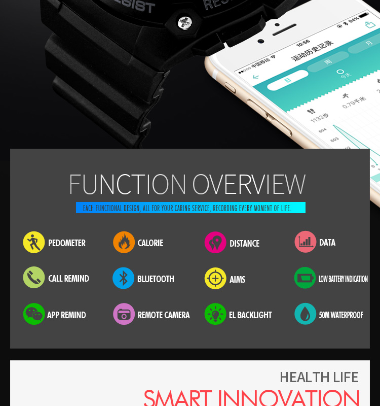 SKMEI 2019 New Bluetooth Sport Smart Watch Men Waterproof Calories Pedometer digital SmartWatch For IOS Android (2)