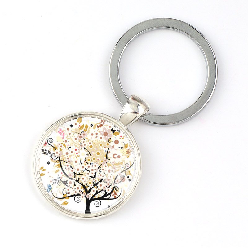 2 x silver toned cabochon keyring blanks size 25mm glass