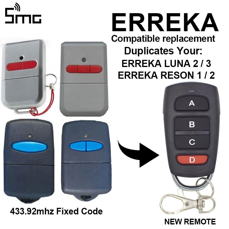 ERREKA LUNA2 LUNA3 433mhz Garage Door Remote Control ERREKA RESON 1 RESON 2 Gate Remotes Controller Clone 433.92mhz Fixed Code